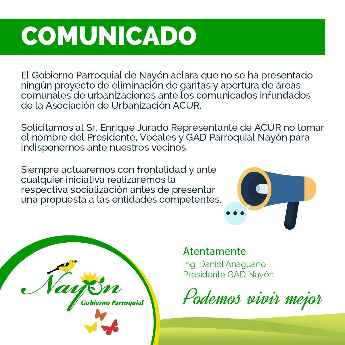 Comunicado GAD NAyón