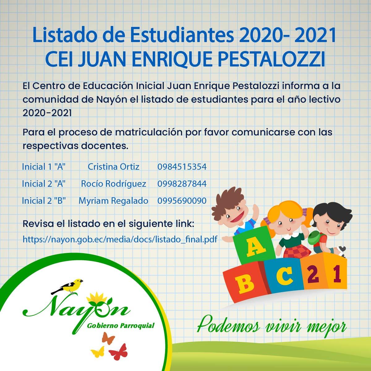 Listado Estudiantes CEI Juan Enrique Pestalozzi