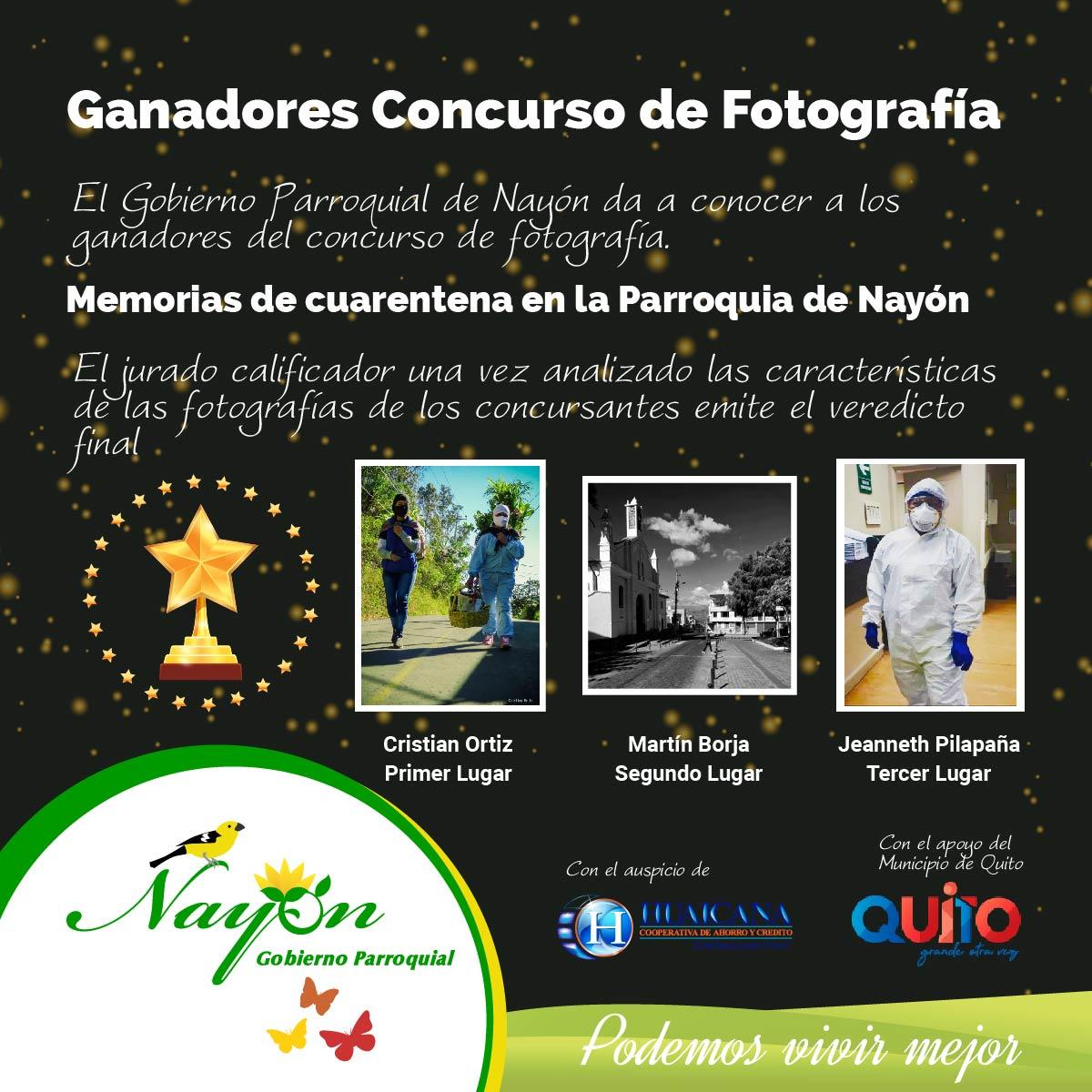 Ganadores Concurso de Fotografía Memorias de Cuarentena en la parroquia de Nayón