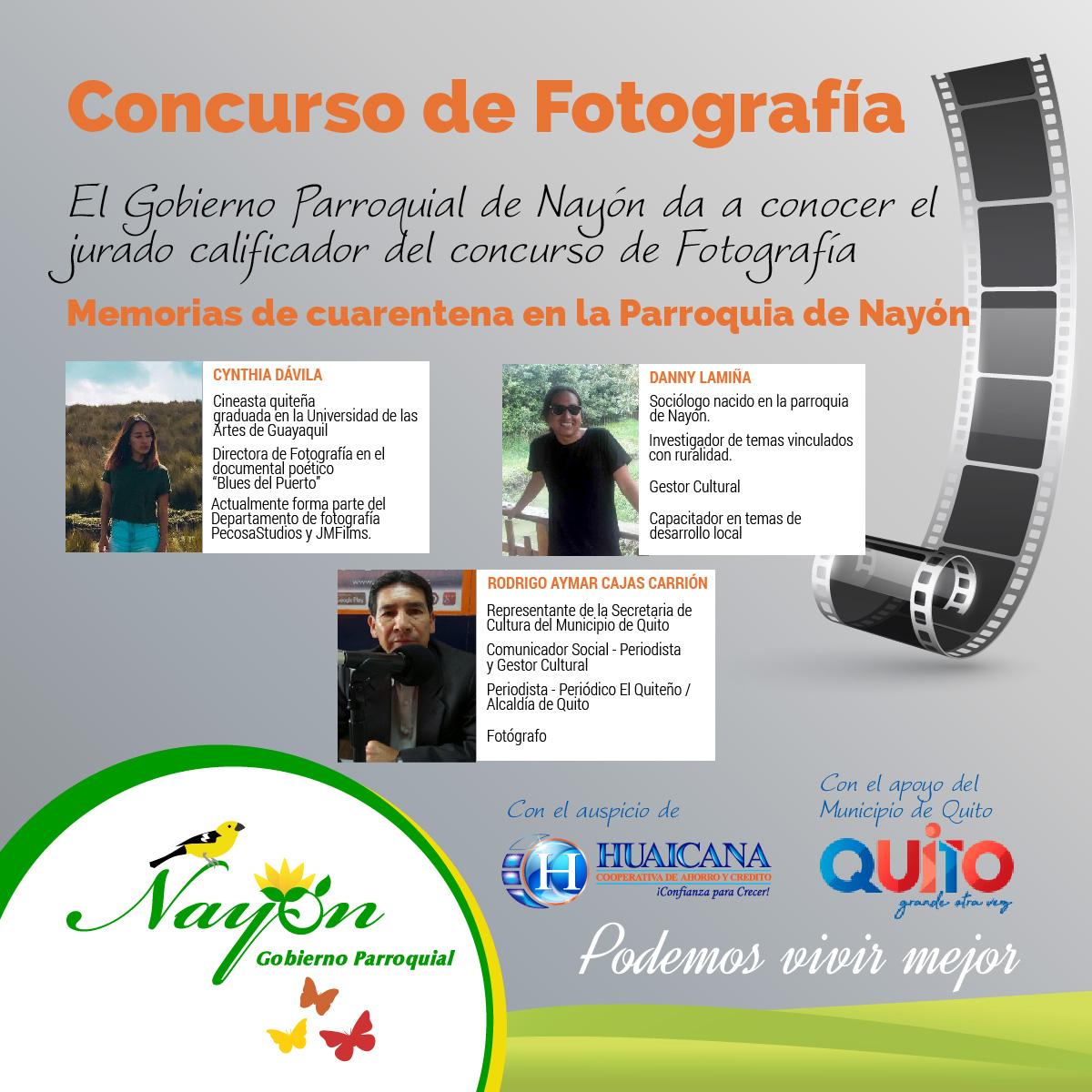 Jurado Calificador, Concurso de Fotografía Memorias de cuarentena en la Parroquia de Nayón