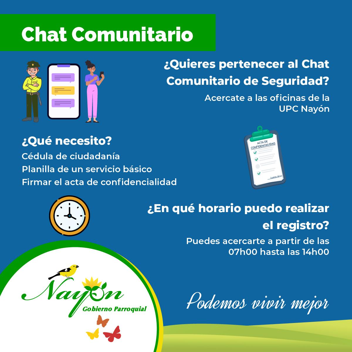 Regístrate en el Chat Comunitario de Seguridad