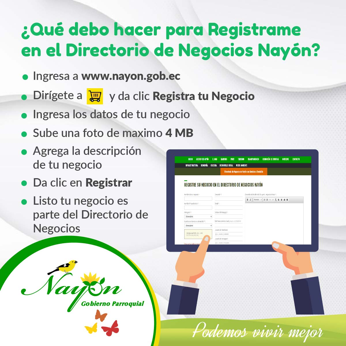 Regístrate en el Directorio de Negocios Nayón