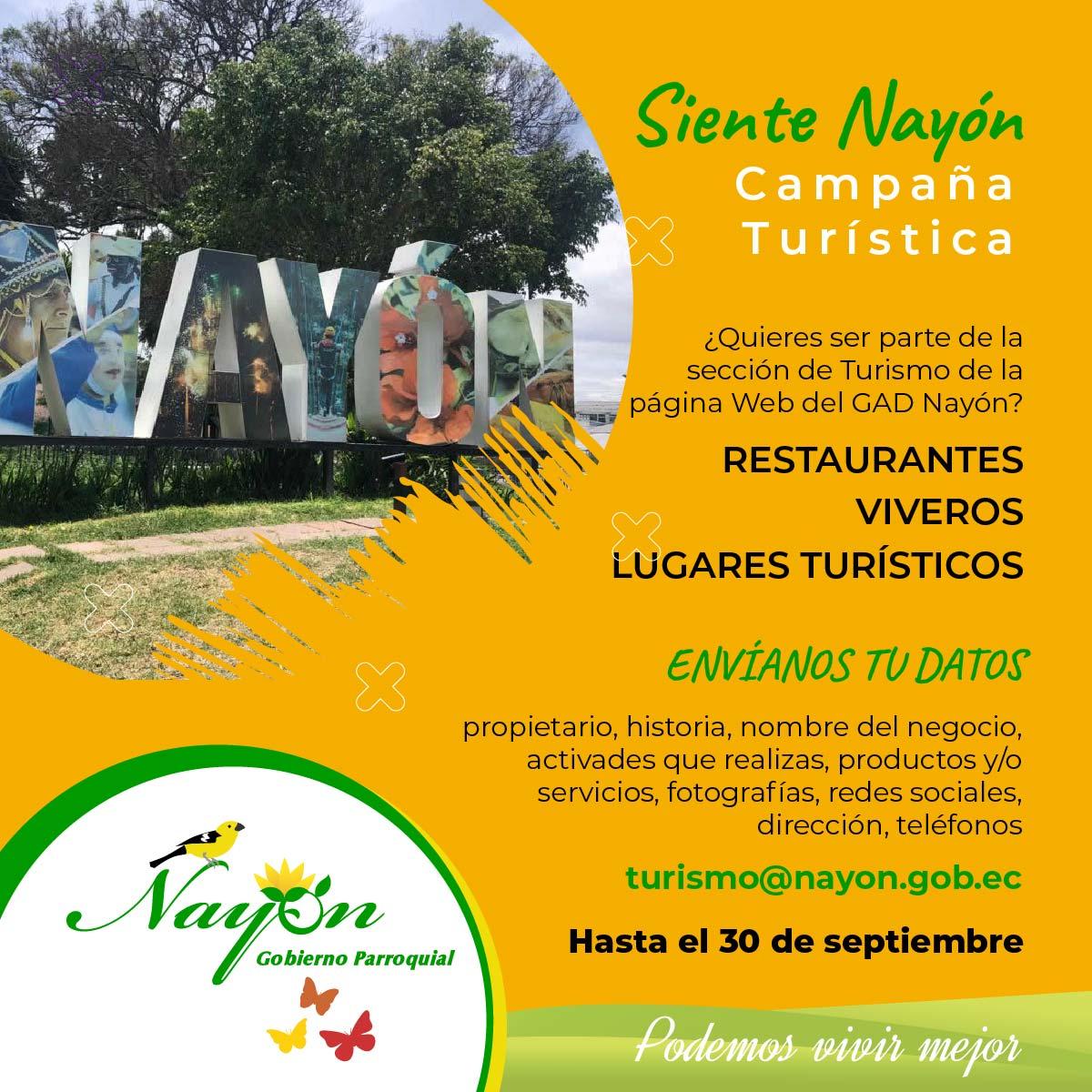 Registra tu negocio o emprendimiento en nuestra página Web para la Campaña Turística Siente Nayón